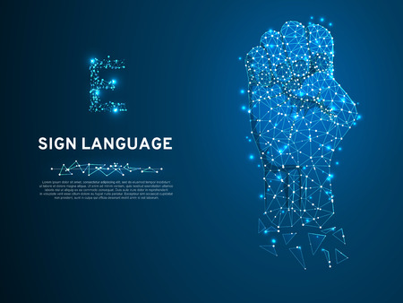 Sign language E letter, hand that use the visual-manual modality to convey meaning. Polygonal space low poly style. People silent communication. Connection wireframe. Vector on dark blue background