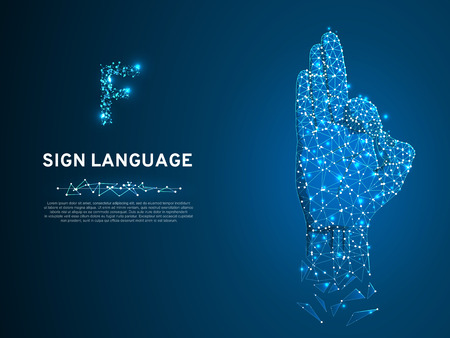 Sign language F letter, hand that use the visual-manual modality to convey meaning. Polygonal space low poly style. People silent communication. Connection wireframe. Vector on dark blue background Vettoriali