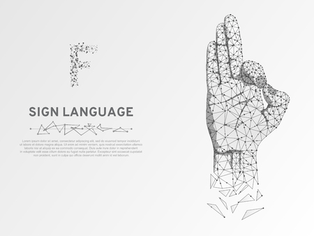 Origami Sign language F letter, hand that use the visual-manual modality to convey meaning. Polygonal space low poly style. People silent communication. Connection wireframe Vector on white background