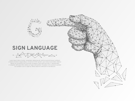 Origami Sign language G letter, hand that use the visual-manual modality to convey meaning. Polygonal space low poly style. People silent communication. Connection wireframe Vector on white background Vettoriali