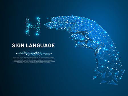 Sign language H letter, hand that use the visual-manual modality to convey meaning. Polygonal space low poly style. People silent communication. Connection wireframe. Vector on dark blue background