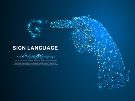 Sign language G letter, hand that use the visual-manual modality to convey meaning. Polygonal space low poly style. People silent communication. Connection wireframe. Vector on dark blue background