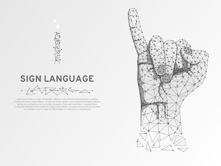Origami Sign language I letter, hand that use the visual-manual modality to convey meaning. Polygonal space low poly style. People silent communication. Connection wireframe Vector on white background Vettoriali