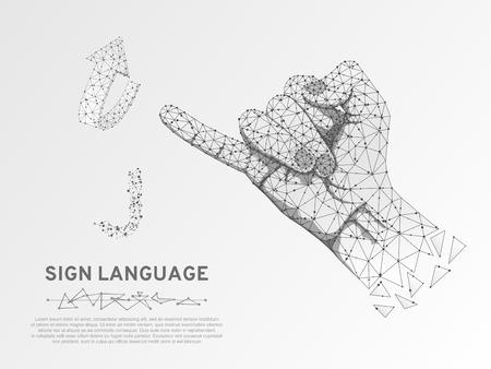 Letra J del lenguaje de señas de origami, mano que utiliza la modalidad visual-manual para transmitir significado. Estilo poligonal de baja poli del espacio. Gente comunicación silenciosa. Vector de estructura metálica de conexión sobre fondo blanco