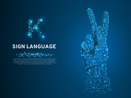 Sign language K letter, hand that use the visual-manual modality to convey meaning. Polygonal space low poly style. People silent communication. Connection wireframe. Vector on dark blue background