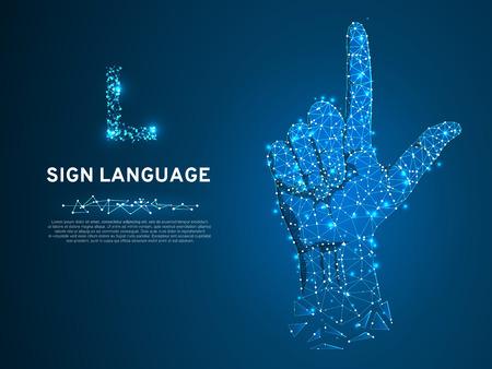 Gebarentaal L-letter, hand die de visueel-handmatige modaliteit gebruikt om betekenis over te brengen. Veelhoekige ruimte laag poly stijl. Mensen stille communicatie. Verbinding draadframe. Vector op donkerblauwe achtergrond