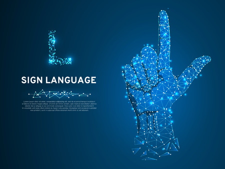 Sign language L letter, hand that use the visual-manual modality to convey meaning. Polygonal space low poly style. People silent communication. Connection wireframe. Vector on dark blue background Vettoriali