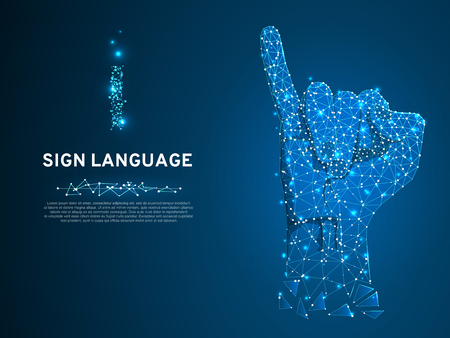 Sign language I letter, hand that use the visual-manual modality to convey meaning. Polygonal space low poly style. People silent communication. Connection wireframe. Vector on dark blue background Vettoriali