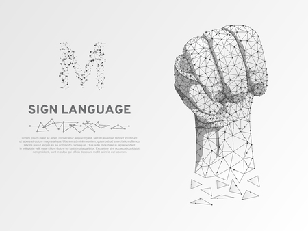 Origami Sign language M letter, Russian Sing Dulya Figa Shish Kukish behind third finger. Polygonal space low poly style. People silent communication. Connection wireframe Vector on white background