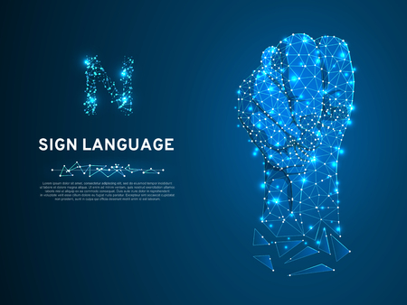 Sign language N letter, Russian Sing Dulya Figa Shish Kukish behind second finger. Polygonal space low poly style. People silent communication. Connection wireframe. Vector on dark blue background