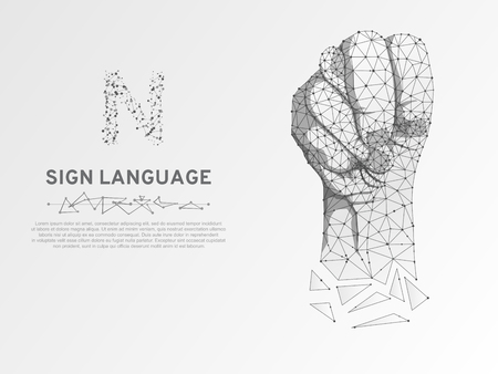 Origami Sign language N letter, Russian Sing Dulya Figa Shish Kukish behind second finger. Polygonal space low poly style. People silent communication. Connection wireframe Vector on white background