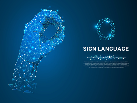 Sign language O letter, Ok finger signal agreement. 3d low poly model of human hand. Neon Polygonal space low poly. People silent communication. Connection wireframe. Vector on dark blue background Vettoriali