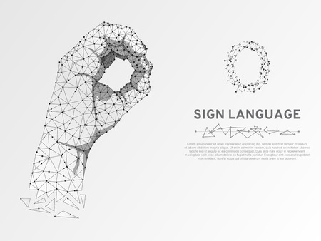 Origami Sign language O letter, Ok finger signal agreement. 3d low poly model of human hand. Neon Polygonal space low poly. People silent communication. Wireframe Vector on white background