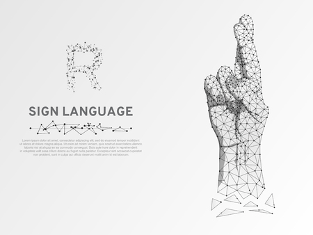 Origami Sign language R letter, Fingers crossed. Superstition, luck, white lie gesture 3d low poly model of human hand. People silent communication. Connection wireframe. Vector on white background