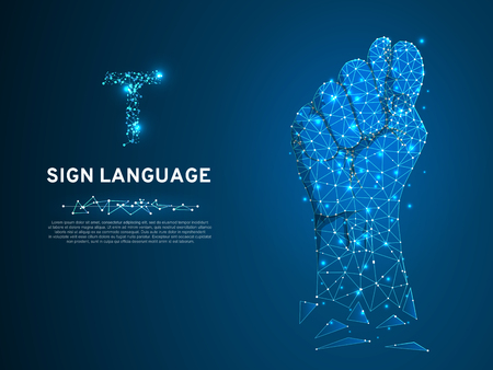 Sign language T letter, Russian Sing Dulya Figa Shish Kukish gesture. Polygonal space low poly style. Deaf people silent communication. Connection wireframe. Vector on dark blue background