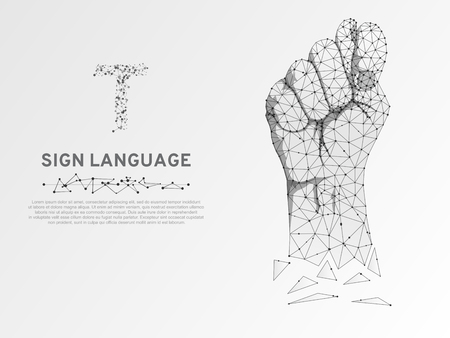 Origami Sign language T letter, Russian Sing Dulya Figa Shish Kukish gesture. Polygonal space low poly style. Deaf people silent communication. Connection wireframe. Vector on white background