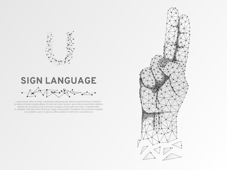 Origami Sign language U letter, hand with two fingers pointing up. Polygonal low poly style. Deaf People silent communication alphabet. Connection wireframe. Isolated Vector on white background Stock Illustratie