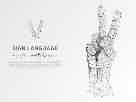 Origami Sign language V letter, two fingers pointing up hand in peace or victory symbol, Polygonal low poly. Deaf People silent communication alphabet. Connection wireframe. Vector on white background Ilustrace