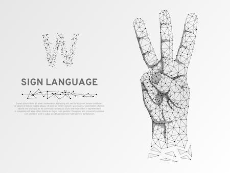 Origami-Zeichensprache V-Buchstabe, Hand mit drei Fingern, die nach oben zeigen, Polygonal Low Poly. Stilles Kommunikationsalphabet der Gehörlosen. Verbindung Drahtmodell. Vektor auf weißem Hintergrund