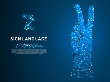 Sign language number two gesture, two fingers pointing up, hand in peace or victory symbol, Polygonal low poly. Deaf People silent communication alphabet. Wireframe Vector 2 on dark blue background