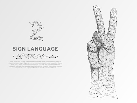Origami Sign language number two gesture, fingers pointing up, hand in peace or victory symbol, Polygonal low poly. Deaf People silent communication alphabet. Wireframe Vector 2 on white background