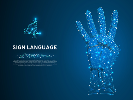 Sign language number four gesture, human hand showing four fingers. Polygonal low poly illustration. Deaf People silent communication alphabet. Wireframe Vector 4 on dark blue background