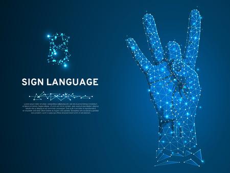 Sign language number eight gesture, fillip, flick, finger kick gesture. Polygonal low poly. Deaf People silent communication alphabet. Connection wireframe. Vector 8 on dark blue background