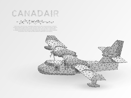 Aerial firefighting Canadair plane. Firemen on a water bomber aircraft fighting flames in forest. Origami style low poly, Abstract polygonal connection with wireframe. Vector white illustration Иллюстрация