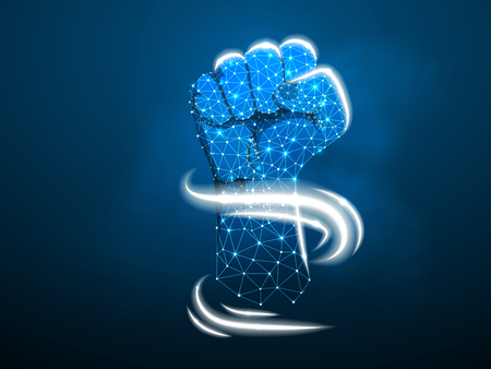 Fist. Low poly frame and dots. The concept of a polygonal 3D agreement on a dark blue background. Business concept with geometric triangle. Vector Abstract power