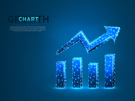 Growth chart. Business Technological concept. Polygonal science Vector illustration. Low poly Growth, success graph. Connection wireframe mesh structure on dark blue background in RGB Color mode