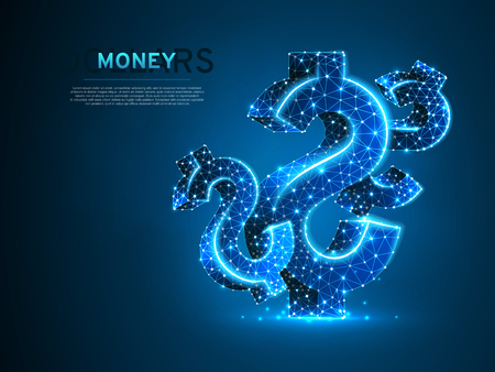 USD dollar wireframe digital illustration. Low poly business, data cash, and finance concept with lines, dots, and starry sky on blue background. Vector polygonal neon money symbol RGB