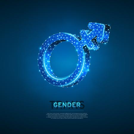 Símbolos transgénero masculinos o femeninos. Ilustración 3d digital de estructura metálica. Concepto de transexualidad de baja poli, hombres y mujeres sobre fondo azul. Signo de Lgbt de neón poligonal de vector abstracto. Modo de color RGB