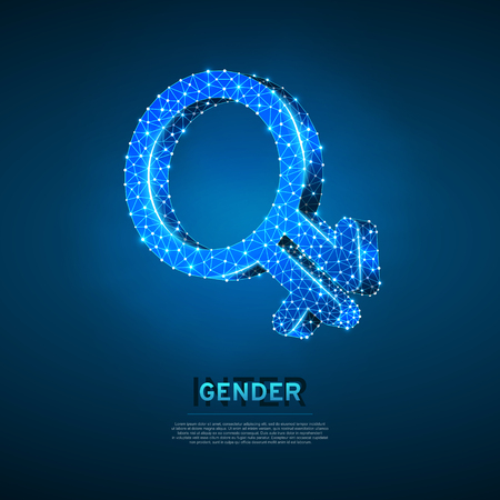 Intergender symbols. Wireframe digital 3d illustration. Low poly individual gender identity, people rights concept on blue background. Abstract Vector polygonal neon LGBT sign. RGB color mode Illustration