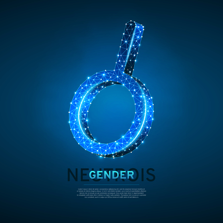 Neutrois symbol. Wireframe digital 3d illustration. Low poly any sexuality people concept on blue background. Abstract Vector polygonal neon LGBT sign. RGB color mode Ilustrace