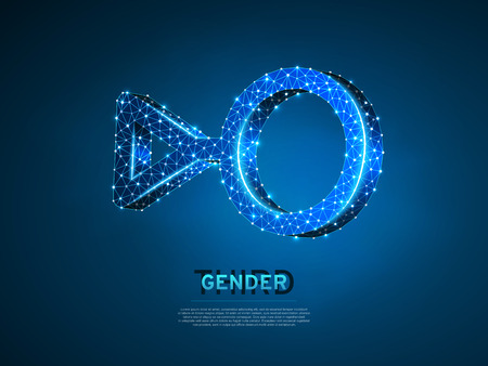 Third gender symbols. Wireframe digital 3d illustration. Low poly individual identity, people rights concept on blue background. Abstract Vector polygonal neon LGBT sign. RGB color mode