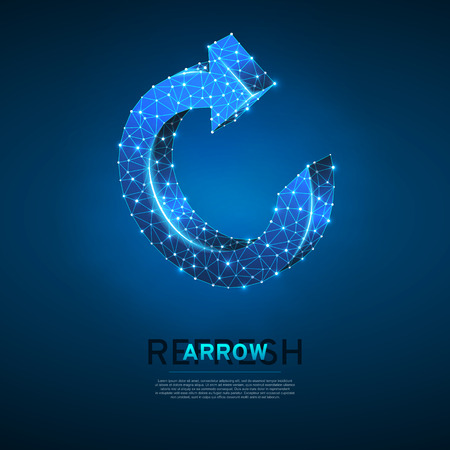 Refresh circular arrow symbol. Wireframe digital 3d illustration. Low poly, repeat, refresh button concept on blue background. Abstract Vector polygonal neon sign. RGB color mode Vettoriali