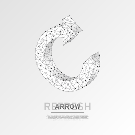 Refresh circular arrow symbol. Wireframe digital 3d illustration. Low poly, repeat, refresh button concept on white background. Abstract Vector polygonal origami style sign. RGB color mode