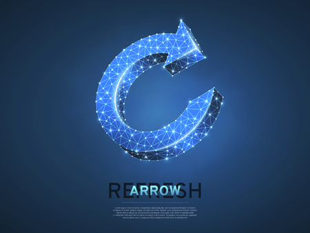 Refresh circular arrow symbol. Wireframe digital 3d illustration. Low poly, repeat, refresh button concept on blue background. Abstract Vector polygonal neon sign. RGB color mode