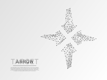 Arrows pointing in the middle. Business Technological success concept. Polygonal science Vector 3d illustration. Origami style Low poly. Connection wireframe mesh structure on white background in RGB