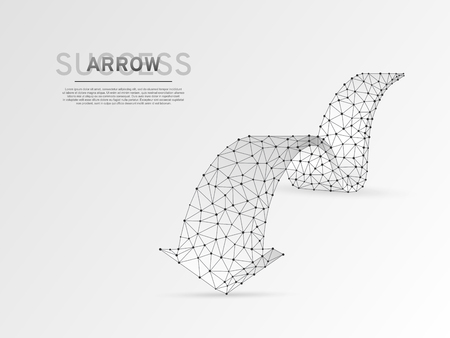 Arrow moving forward wireframe digital 3d illustration. Low poly Business visionary, challenge, goal concept with lines, dots and starry sky on white background. Vector polygonal origami style RGB