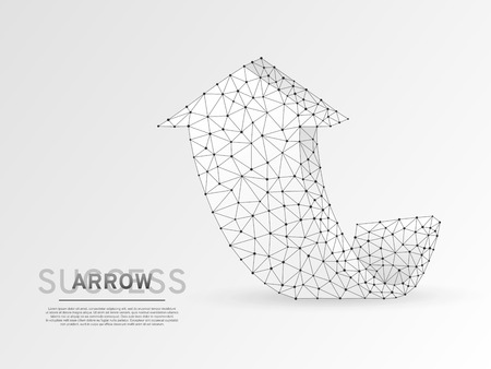 Arrow growth, success, team work sign. Three arrow goes up wireframe digital 3d illustration. Low poly colaboration concept with lines, dots on white background. Vector origami style polygonal RGB Vecteurs