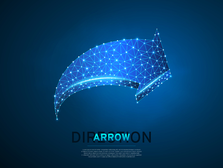 Arrow moving forward wireframe digital 3d illustration. Low poly Business visionary, challenge, goal concept with lines, dots and starry sky on blue background. Vector polygonal road guide neon RGB