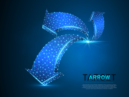 Arrow growth, success, team work sign. Three arrow goes up wireframe digital 3d illustration. Low poly colaboration concept with lines, dots on blue background. Vector neon polygonal RGB color Vettoriali