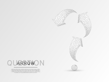 Arrow in form of a question mark. Three arrow goes up and down wireframe digital 3d illustration. Low poly abstract FAQ concept with lines, dots on white background. Vector origami style polygonal RGB