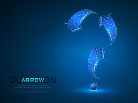 Arrow in form of a question mark. Three arrow goes up and down wireframe digital 3d illustration. Low poly abstract FAQ concept with lines, dots on blue background. Vector neon polygonal RGB color Ilustrace