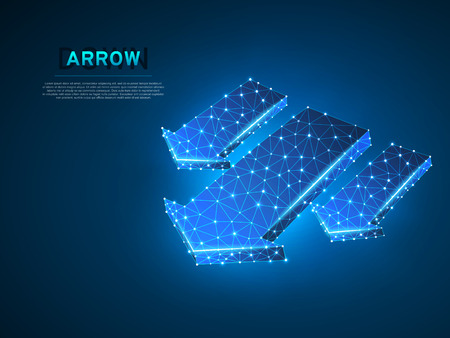 Arrow failure, success, team work sign. Three arrows goes down wireframe digital 3d abstract illustration. Low poly collaboration concept with lines, dots on blue background. Vector neon polygonal RGB Illustration