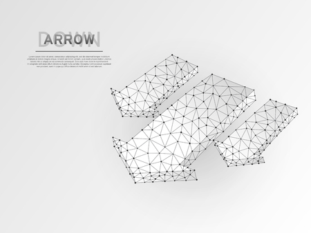 Arrow failure, success, team work sign. Three arrows goes down wireframe digital 3d abstract. Low poly collaboration concept with lines, dots on white background. Vector origami style polygonal RGB