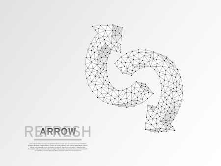 Refresh circular arrows symbol. Wireframe digital 3d illustration. Low poly, repeat, recycling button concept on white background. Abstract Vector polygonal origami style sign. RGB color mode