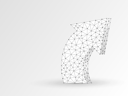 Arrow growth, success, team work abstract sign. One arrow goes up wireframe digital 3d illustration. Low poly collaboration concept with lines, dots on white background. Vector origami polygonal RGB