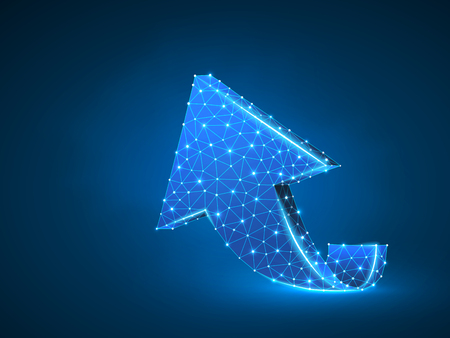 Arrow growth, success, team work abstract sign. One arrow goes up wireframe digital 3d illustration. Low poly collaboration concept with lines, dots on blue background. Vector neon polygonal RGB Ilustração